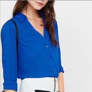 NWOT Express Blue Slim Fit Portofino Blouse Size S